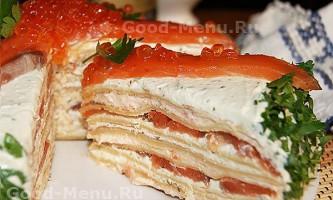 Млинцевий торт з сьомгою