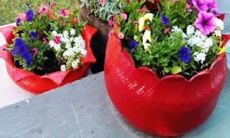 Квітковий горщик з шини