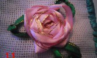 Майстер клас з вишивання троянд з стрічок
