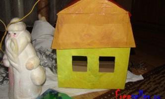 Новорічний будиночок з коробки своїми руками