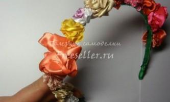 Обідок з атласних стрічок з трояндами