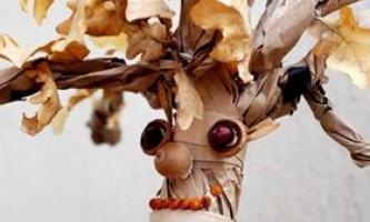 Осінні вироби: дерево з осіннього листя