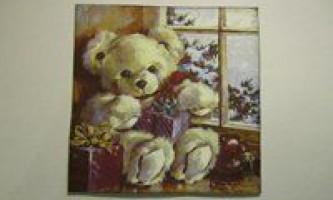 Листівка в стилі декупаж - різдвяний ведмедик