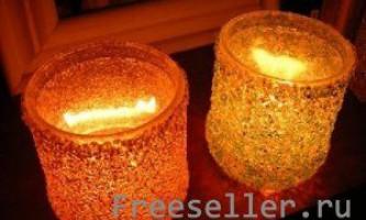 Святковий свічник з баночки або склянки і бісеру