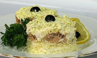 Салат мімоза з сиром - низькокалорійний