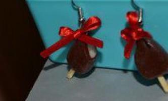 Сережки з полімерної глини «ескімо»