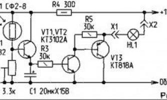 Схема автоматичного протизасліпного ліхтаря