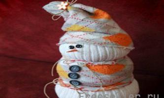 Сніговик з шкарпеток своїми руками