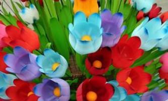Тюльпани з пластикових пляшок своїми руками - фото, відео як зробити