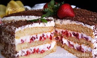 Торт «полуниця з вершками» - простий рецепт