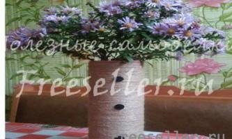 Ваза для квітів з банки від миючого засобу